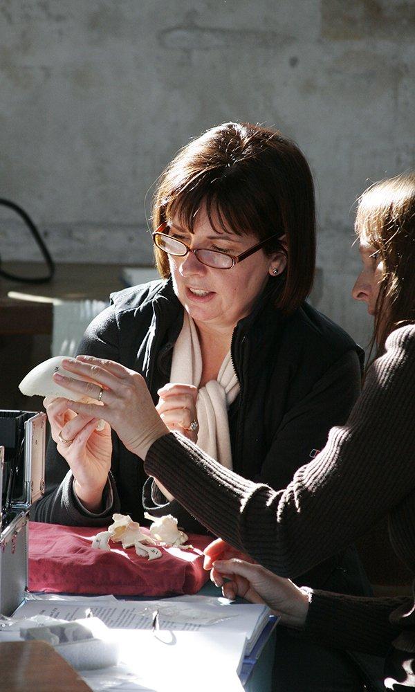 Two women examining a skull